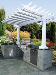Pergola Canopy Ideas by Covered Pergola Over Kitchen Area With Storage Built Into The
