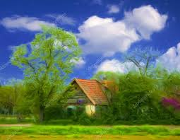 Small Country Houses Landscape Painting Small Country House U2014 Stock Photo Prudkov