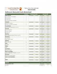 Estimate Sheet Template by Contractor Estimate Sheet Lowes Bathroom Remodel Estimate