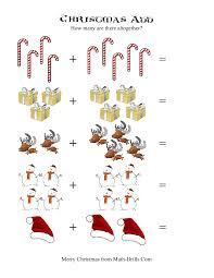 christmas math worksheet picture addition a kindergarten