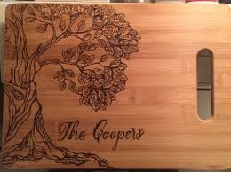 wedding cutting board custom wood burning cutting board pyrography of tree wedding