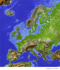 illustration of shaded relief map of europe