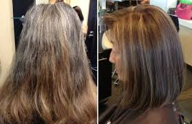 highlights to hide greyhair natural looking brunette color with dimensional highlights you d