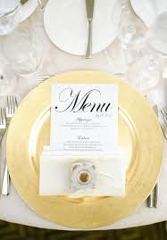 Table Setting Chargers - wedding plate setting ideas place your menu card on the plate