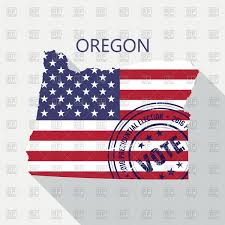 State Of Oregon Map by State Of Oregon Map With Flag And Presidential Day Vote Stamp
