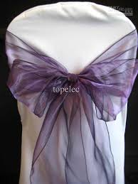 purple chair sashes 50pcs new purple organza chair sashes bow cover banquet