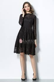 illusion long sleeve high neck vintage black lace short bridesmaid