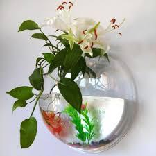 aquarium wall fish bowl hanging tank bubble mount decor plant