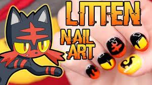 litten nail art tutorial pokemon sun and moon nail art youtube
