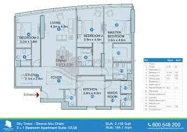 3 1 bedroom suite 04 floor plan of sky tower al reem island