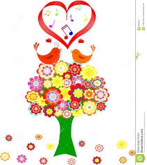 tree in colorful flower with love bird stock photo image 8983870