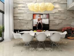 dining room 3d feature wall and pendant lights art dining room
