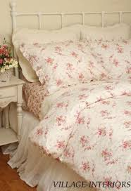 shabby abbey pink rose chic king duvet comforter cover shams set