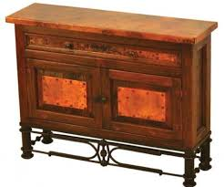 Reclaimed Wood Buffet Table by Hand Hammered Reclaimed Copper Consoles Custom Made Copper Furniture