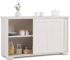 antique white kitchen storage cabinet costzon kitchen storage sideboard antique stackable cabinet for home cupboard buffet dining room white with sliding door