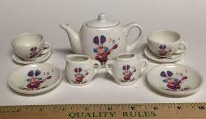 bunny tea set 10 pc dollhouse miniature collectible mini tea set bunny rabbit