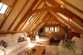 internal view of a loft space above a 3 bay oak framed garage