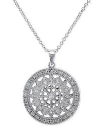 disc pendant necklace effy diamond disc pendant necklace 1 4 ct t w in 14k white or