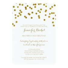 bas mitzvah invitations gold confetti bat mitzvah invitations zazzle