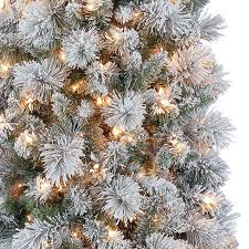 7 ft pre lit mixed flocked slim artificial tree clear
