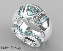 unique matching wedding bands v style aquamarine matching wedding bands for him and vidar