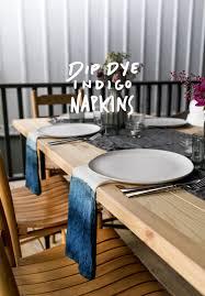 diy dip dye indigo linen napkins fresh exchange