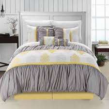 bedroom perfect queen size gray and yellow ruffled bedding set