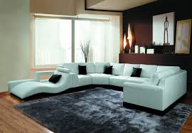 living room u shaped white leather sofas with lounge chair and