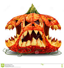 scary pumpkin character group stock illustration image 78174527