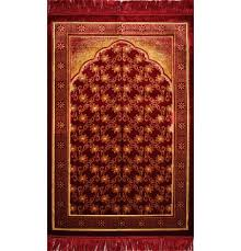 plush velvet floral trellis islamic prayer rug red gold