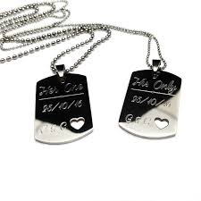His And Hers Dog Tags Her One His Only Necklaces The Necklace