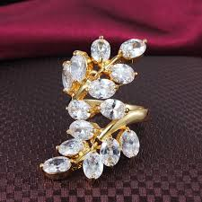 beautiful big rings images Buy leaves branch beautiful big rings cz ring jpg