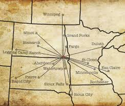 Nd Map With Cities Location Coteau Des Prairies Lodge
