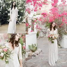 charming bohemian wedding dresses 2016 a line v neck sheer