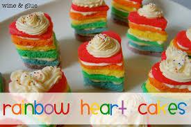 rainbow cake rainbow heart cakes u0026 rainbow trifle cups wine u0026 glue
