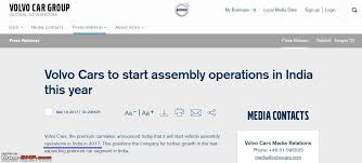 volvo media site volvo cars to start local assembly in india team bhp