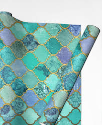 moroccan wrapping paper mint moroccan tile pattern as gift wrap by micklyn le feuvre juniqe
