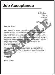 how to write a job acceptance letter samples