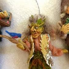 vintage handmade wood carved troll gnome