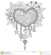 heart shape floral dream catcher for coloring book for stock