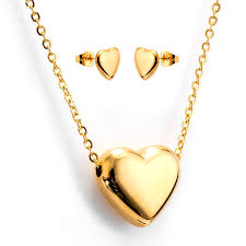 stainless steel heart necklace images Newyork army stainless steel heart pendant necklace and stud jpg