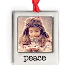 silver plate peace photo ornament christmas ornaments and decor