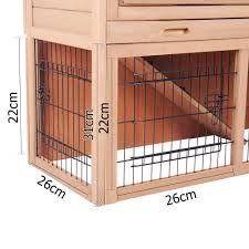 Large Rabbit Hutch With Run 2 Storey Rabbit Hutch With Run Guinea Pig Ferret Cage 6 Ebay