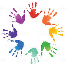 postkarten designen regenbogen druckt der kinderhände im kreis vektor rahmen für