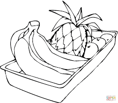 hand of bananas pineapple and apples coloring page free