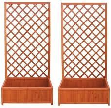 traliccio legno 2 pezzi fioriera in legno con traliccio rettangolare cm 40x90x180h