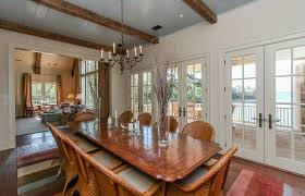 Rustic Dining Room With French Doors  Exposed Beam In Modoc SC - Dining room with french doors