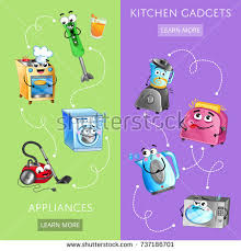 Microwave And Toaster Set House Appliances Banner Microwave Oven Electric Stock Vector