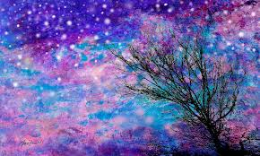 starry painting winter starry night by ann powell