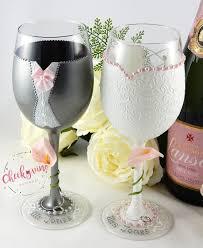 Beautiful Wine Glasses Bride U0026 Groom Wine Glasses Coloured Pearls Cheekyvino Designs